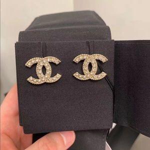 Brand new Chanel CC pearl rhinestone earrings